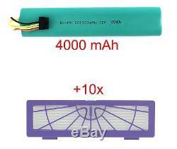 Akku 4000 mAh 12V und 10 Filter für Neato Botvac 70, 70e, 75, 80, 85, etc