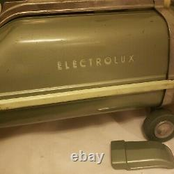Vtg Electrolux Model 89 Vacuum Cleaner and power brush accessories seafoam green