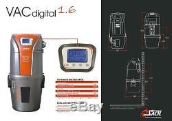 Zentralstaubsauger KIT VAC DIGITAL 1.6/ 591 AW Fernsteuerschlauch Digitalanzeige